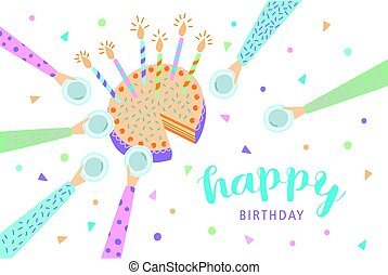 Happy birthday greeting card. Festive cake with candles. Vector illustration, cartoon postcard.