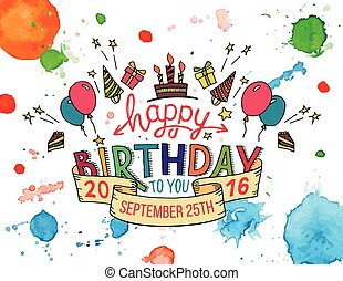 Happy Birthday greeting card hand lettering