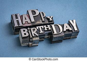 Happy Birthday greeting card in metal type