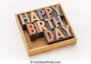 happy birthday greeting card in wood type