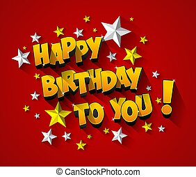 Happy Birthday Greeting Card On Background vector...