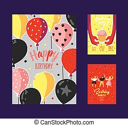 Happy Birthday Greeting Card, Poster, Banner, Invitation with Celebrating People, Confetti, Balloons and Cake. Vector illustration