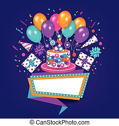 Birthday greeting card, banner with space for text