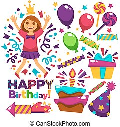 Happy Birthday Greeting Card Vector Design Template Of Balloons, Confetti,  Candles Cake  Happy Birthday Word Template