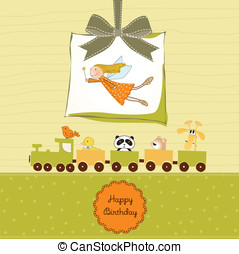 Happy Birthday Greeting Card - Vector Illustration