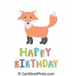 Happy Birthday greeting card with a cute fox