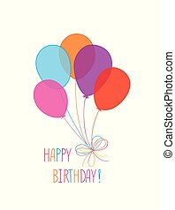Happy birthday greeting card  with balloons. Birthday ballons with handwritten lettering. Holday background