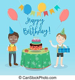 Happy Birthday Greeting Card with Boys and Birthday Cake. Vector illustration