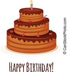 Happy Birthday Greeting Card with Chocolate Cake