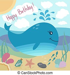 Happy birthday greeting card with cute whale and sea life...