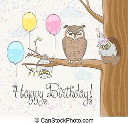 Happy birthday greeting card with funny owls family, balloons