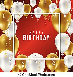 Happy Birthday greeting card with golden and white balloons on red background.