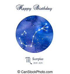 Happy birthday greeting card. Zodiac constellation....