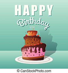 Happy Birthday Greeting Cards Design with Chocolate Cakes