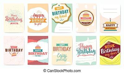 Happy Birthday greeting cards set. Vector design.