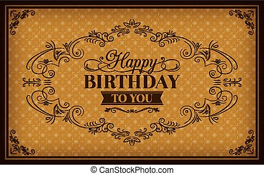 Happy Birthday greeting vintage frame