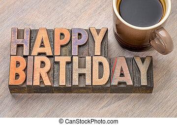 Happy Birthday greetings card in wood type