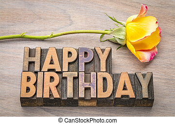 Happy Birthday greetings in wood type