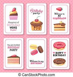 Wedding invitation card macaroons and desserts theme in vector happy birthday greetings invitation sweet dessert set stopboris Images