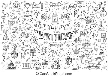 Happy birthday hand drawn abstract