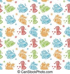 Happy birthday Hand drawn pattern Background
