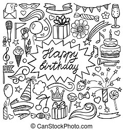 Happy birthday hand drawn set