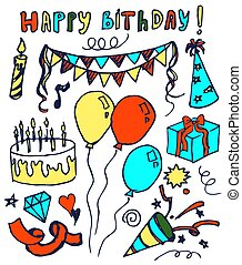 Happy Birthday Hand Drawn Vector Illustration