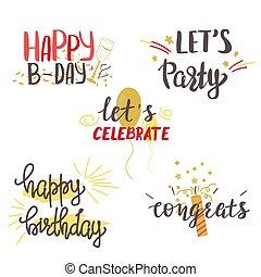 Happy Birthday hand lettering set.