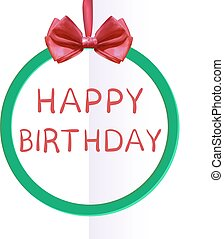 'Happy Birthday' handwritten VECTOR letters in frame with red silk bow
