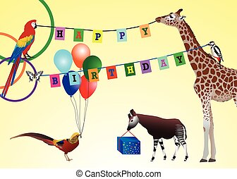Happy Birthday - Happy birthday picture: animals with gifts...