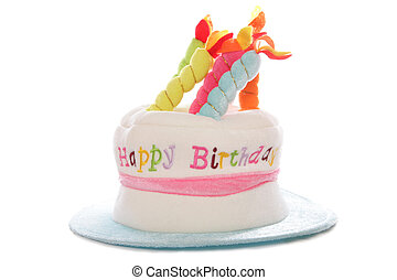 Funny Happy Birthday Hat With Candles On Top Isolated White