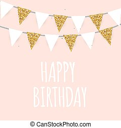 Vector golden glitter border card vector golden glitter border happy birthday holiday greeting and invitation card template with golden glitter flags vector illustration stopboris Images