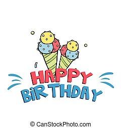 Happy Birthday Ice Cream Background Vector Image