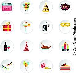 Happy Birthday icons set, flat style