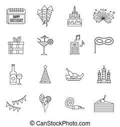 Happy Birthday icons set, outline style