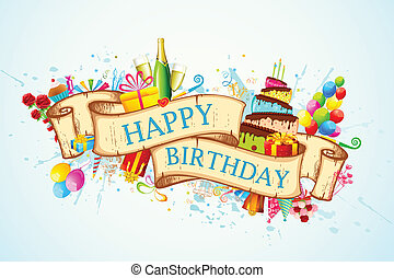 Happy Birthday - illustration of birthday background with...