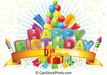 Happy Birthday - illustration of birthday card with...