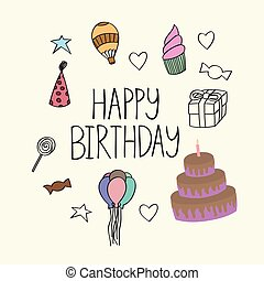 Happy birthday illustration, simple art