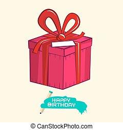Happy Birthday  Illustration with Gift Box