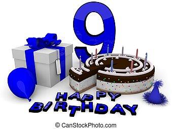 Happy birthday in blue - Happy birthday with cake, present...