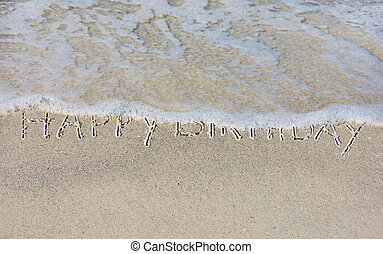 happy birthday in ocean sand