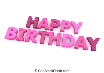 Happy Birthday in Purple And Pink - word happy birthday in...