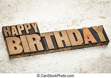 happy birthday in wood type