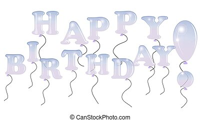 Happy Birthday inscription design for greeting cards and poster with balloons, sample template for birthday celebration.