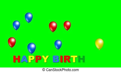 Happy birthday inscription with moving funny balls in blue, red and yellow color. Beautiful birthday movie on green matte.
