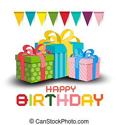 Happy Birthday Invitation Card. Vector Colorful Paper Gift Boxes with Flags on White Background.