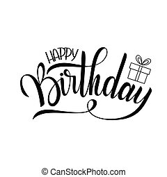 Happy Birthday Lettering Holiday Text And Decorations Greeting