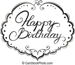 Happy birthday lettering. Black and white pattern
