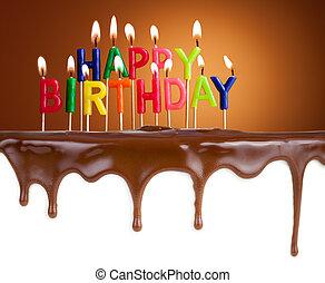 Happy birthday lit candles on chocolate cake