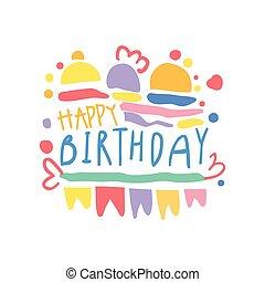 Happy Birthday logo colorful hand drawn vector Illustration